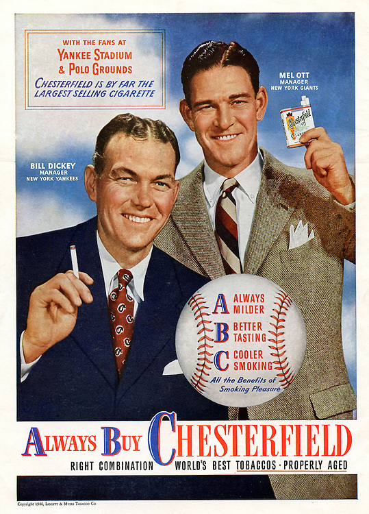 Client: Unknown<br /> Ad Agency: Unknown<br /> Product: Chesterfield Cigarettes<br /> Location: Advertisement in a Pittsburgh Pirate Program<br /> <br /> Color Advertisement for Chesterfield Cigarettes with two Major League Baseball Managers.<br /> This advertisement was in a Pittsburgh Pirate program.