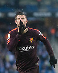 Gerard Pique Bernabeu of FC Barcelona celebrates after scoring his goal during the La Liga 2017-18 match between RCD Espanyol and FC Barcelona at RCDE Stadium on 04 February 2018 in Barcelona, Spain. Photo by Vicens Gimenez / Power Sport Images