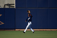AZL Brewers Blue center fielder Terence Doston (9) catches a fly ball during an Arizona League game against the AZL Athletics Gold on July 2, 2019 at American Family Fields of Phoenix in Phoenix, Arizona. AZL Athletics Gold defeated the AZL Brewers Blue 11-8. (Zachary Lucy/Four Seam Images)
