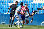 CD Leganes' Mauro Dos Santos (l) and Unai Bustinza (r), Atletico de Madrid's Keidi Bare (c) and the referee Carlos Del Cerro Grande during friendly match. August 12,2017. (ALTERPHOTOS/Acero)