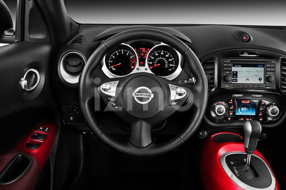 Steering Wheel View 2011 Nissan Juke SV SUV Stock Photo