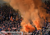 09/03/2019 Sky Bet League 1 Blackpool v Southend United<br /> <br /> Tangerine smoke bombs colour the North Stand