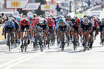 Alejandro Valverde (ESP) Movistar Team, Matej Mohoric (SLO) Bahrain Victorious, Dion Smith (NZL) Team BikeExchange, Ide Schelling (NED) Bora-Hansgrohe and Alexander Kamp (DEN) Trek-Segafredo sprint for the finish line at the end of Stage 1 of the 100th edition of the Volta Ciclista a Catalunya 2021, running 178.4km from Calella to Calella, Spain. 22nd March 2021.   <br /> Picture: Bora-Hansgrohe/Luis Angel Gomez/BettiniPhoto | Cyclefile<br /> <br /> All photos usage must carry mandatory copyright credit (© Cyclefile | Bora-Hansgrohe/Luis Angel Gomez/BettiniPhoto)