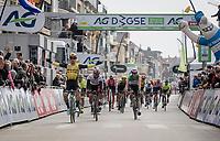 Dylan Groenewegen (NED/Jumbo-Visma) wins the 43rd Driedaagse Brugge-De Panne 2019 ahead of Fernando Gaviria (COL/UAE-Emirates) & Elia VIVIANI (ITA/Deceuninck-Quick Step)<br /> <br /> One day race (1.UWT) from Brugge to De Panne BEL (200km)<br /> <br /> ©kramon
