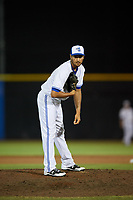 Dunedin Blue Jays relief pitcher Daniel Young looks in for the sign during a game against the St. Lucie Mets on April 20, 2017 at Florida Auto Exchange Stadium in Dunedin, Florida.  Dunedin defeated St. Lucie 6-4.  (Mike Janes/Four Seam Images)