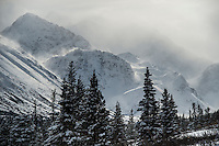 The wind rakes Alaska's Chugach Mountains after a heavy March snowfall.