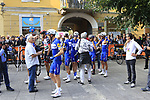 Quick-Step Floors team arrive at sign on before the start of the 99th edition of Milan-Turin 2018, running 200km from Magenta Milan to Superga Basilica Turin, Italy. 10th October 2018.<br /> Picture: Eoin Clarke | Cyclefile<br /> <br /> <br /> All photos usage must carry mandatory copyright credit (© Cyclefile | Eoin Clarke)