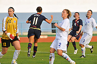 Lauren Cheney celebrates her goal.  The USWNT defeated Iceland (2-0) at Vila Real Sto. Antonio in their opener of the 2010 Algarve Cup on February 24, 2010.