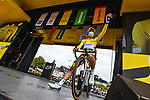 Race leader Yellow Jersey Julian Alaphilippe (FRA) Deceuninck-Quick Step at sign on before Stage 2 of the 2021 Tour de France, running 183.5km from Perros-Guirec to Mur-de-Bretagne Guerledan, France. 27th June 2021.  <br /> Picture: A.S.O./Charly Lopez   Cyclefile<br /> <br /> All photos usage must carry mandatory copyright credit (© Cyclefile   A.S.O./Charly Lopez)