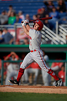 Auburn Doubledays Phil Caulfield (1) bats during a NY-Penn League game against the Batavia Muckdogs on June 14, 2019 at Dwyer Stadium in Batavia, New York.  Batavia defeated 2-0.  (Mike Janes/Four Seam Images)