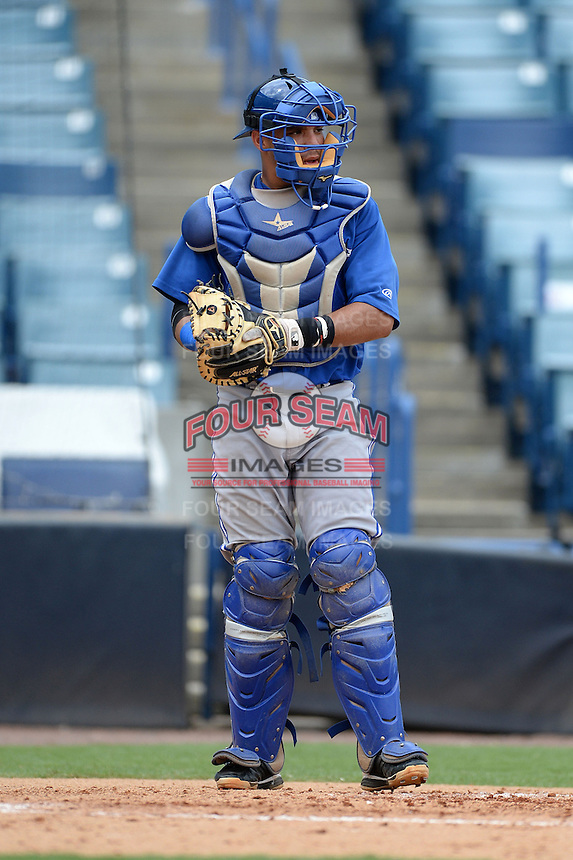 Toronto Blue Jays catcher Michael De La Cruz (13) during an Instructional League game against the New York Yankees on September 24, 2014 at George M. Steinbrenner Field in Tampa, Florida.  (Mike Janes/Four Seam Images)