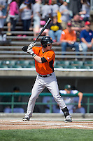 Jeff Kemp (12) of the Frederick Keys at bat against the Lynchburg Hillcats at Calvin Falwell Field at Lynchburg City Stadium on May 14, 2015 in Lynchburg, Virginia.  The Hillcats defeated the Keys 6-3.  (Brian Westerholt/Four Seam Images)