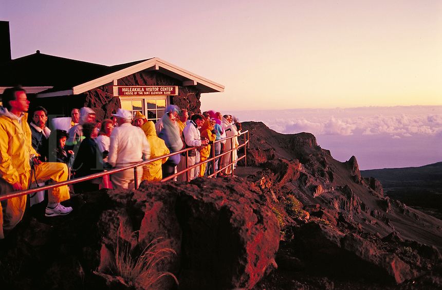 tourists viewing sunrise at the Haleakala Volcano Visitor Center