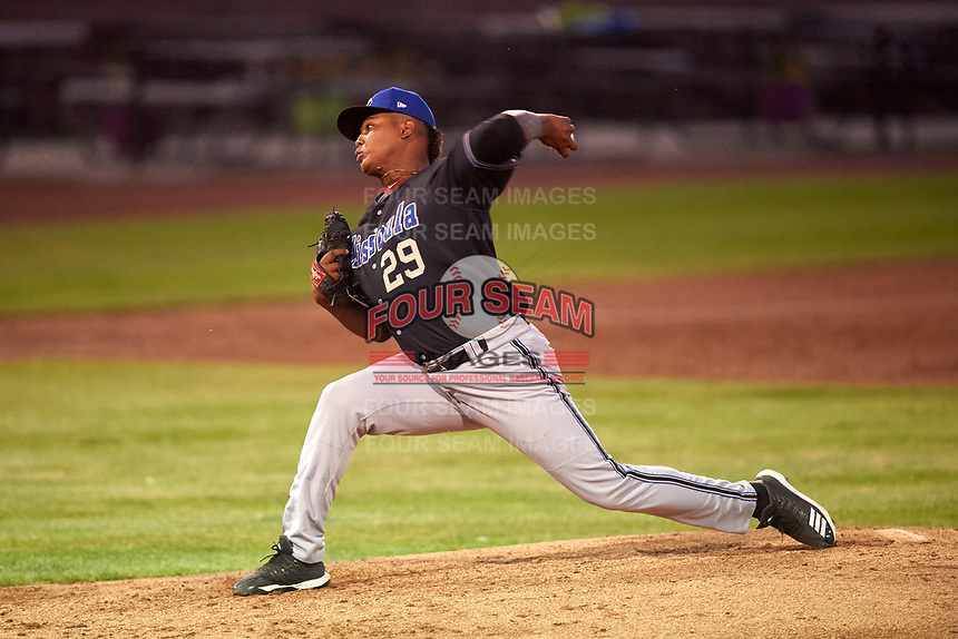 Missoula Osprey relief pitcher Ezequiel De La Cruz (29) delivers a pitch during a Pioneer League game against the Idaho Falls Chukars at Melaleuca Field on August 20, 2019 in Idaho Falls, Idaho. Idaho Falls defeated Missoula 6-3. (Zachary Lucy/Four Seam Images)