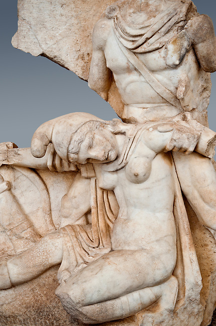 Roman relief sculpture, Aphrodisias, Turkey, Images of Roman art bas reliefs.  Nero supports a slumping naked Armenia. She wears a soft eastern hat.