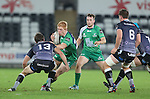 Connacht replacement Darragh Leader takes on Ospreys centre Aisea Natoga.<br /> Guiness Pro12<br /> Ospreys v Connacht<br /> Liberty Stadium<br /> 31.10.14<br /> ©Steve Pope-SPORTINGWALES