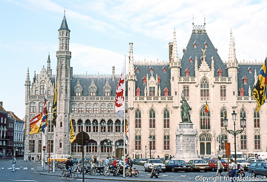 Bruges: Provincial Palace and Post Office, both 1887. East side of Markt.  Photo '87.
