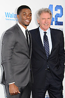 """9 April 2013 - Hollywood, California - Chadwick Boseman, Harrison Ford. """"42"""" Los Angeles Premiere held at the TCL Chinese Theatre. Photo Credit: Byron Purvis/AdMedia"""