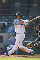 Myrtle Beach Pelicans third baseman Michael Olt #9 at bat during a game vs. the Wilmington Blue Rocks at BB&T Coastal Field in Myrtle Beach, South Carolina on April 10, 2011.   Photo By Robert Gurganus/Four Seam Images