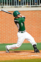 Ross Steedley #40 of the Charlotte 49ers connects for a solo home run against the Saint Peter's Peacocks at Robert and Mariam Hayes Stadium on February 18, 2012 in Charlotte, North Carolina.  Brian Westerholt / Four Seam Images