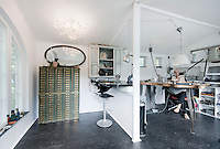Jewellery designer, Josephine Bergsoe, in her garden shed, which she has transformed into a contemporary work room