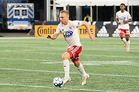 FOXBOROUGH, MA - OCTOBER 16: Derek Waldeck #18 of North Texas SC brings the ball forward during a game between North Texas SC and New England Revolution II at Gillette Stadium on October 16, 2020 in Foxborough, Massachusetts.