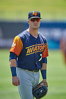 Greg Deichmann (7) of the Las Vegas Aviators before the game against the Salt Lake Bees at Smith's Ballpark on June 27, 2021 in Salt Lake City, Utah. The Aviators defeated the Bees 5-3. (Stephen Smith/Four Seam Images)