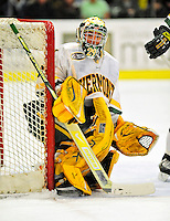 21 February 2009: University of Vermont Catamount goaltender Rob Madore, a Freshman from Venetia, PA, in action against the University of Massachusetts River Hawks at Gutterson Fieldhouse in Burlington, Vermont. The River Hawks shut out the Catamounts 1-0. Mandatory Photo Credit: Ed Wolfstein Photo