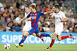 FC Barcelona's Ivan Rakitic (l) and Sevilla FC's Pablo Sarabia during Supercup of Spain 2nd match.August 17,2016. (ALTERPHOTOS/Acero)