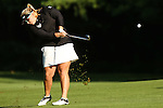 Megan Grehan hits the ball with her iron on the 2nd fairway at the LPGA Championship 2014 Sponsored By Wegmans at Monroe Golf Club in Pittsford, New York on August 13, 2014