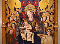 Virgin Mary; Mother of God; The Virgin; Mare de deu; Gothic altarpiece of Madonna and Child by Joan Reixach of Barcelona, circa 1450, tempera and gold leaf on wood, from the sanctuary of San Pau d'Albocasser, Castello..  National Museum of Catalan Art, Barcelona, Spain, inv no: MNAC  64055. Against a art background.