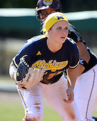 Michigan Wolverines Softball infielder Kelly Christner (21) during a game against the Bethune-Cookman on February 9, 2014 at the USF Softball Stadium in Tampa, Florida.  Michigan defeated Bethune-Cookman 12-1.  (Copyright Mike Janes Photography)