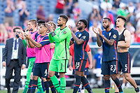 DENVER, CO - JUNE 3: USA celebrates during a game between Honduras and USMNT at EMPOWER FIELD AT MILE HIGH on June 3, 2021 in Denver, Colorado.