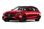 Stock pictures of low aggressive front three quarter view of 2021 Mercedes Benz E-Class 53-AMG 5 Door Wagon Low Aggressive
