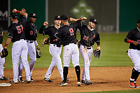 Batavia Muckdogs Nic Ready (51), Dalvy Rosario (17), Kobie Taylor (38), Andrew Turner (9), and J.D. Orr (22) celebrate after a NY-Penn League game against the West Virginia Black Bears on June 26, 2019 at Dwyer Stadium in Batavia, New York.  Batavia defeated West Virginia 4-2.  (Mike Janes/Four Seam Images)
