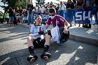 Lisa Klein (DEU/Canyon SRAM) completely spent post-finish, but setting a World Champion Time<br /> <br /> Mixed Relay TTT <br /> Team Time Trial from Knokke-Heist to Bruges (44.5km)<br /> <br /> UCI Road World Championships - Flanders Belgium 2021<br /> <br /> ©kramon