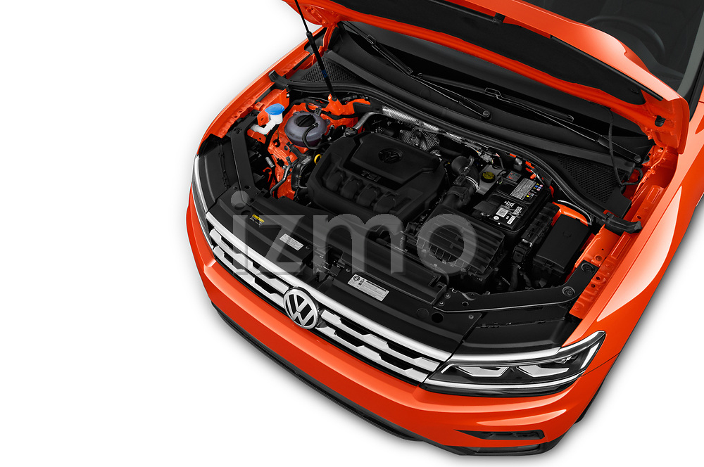 Car stock 2018 Volkswagen Tiguan SEL 4Motion 5 Door SUV engine high angle detail view