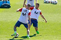 Spain's Iago Aspas (l) and Koke Resurrecccion during training session. June 5,2017.(ALTERPHOTOS/Acero)