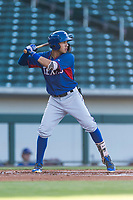 AZL Rangers third baseman Jonathan Ornelas (10) at bat during an Arizona League playoff game against the AZL Cubs 1 at Sloan Park on August 29, 2018 in Mesa, Arizona. The AZL Cubs 1 defeated the AZL Rangers 8-7. (Zachary Lucy/Four Seam Images)