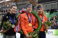 SPEEDSKATING: HAMAR: 01-03-2020, ISU World Speed Skating Championships, Allround, Final Podium, Ivanie Blondin (CAN), Ireen Wüst (NED), Antoinette de Jong (NED), ©photo Martin de Jong