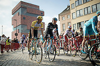 Luke Row (GBR/SKY) & Sep Vanmarcke (BEL/LottoNL-Jumbo) leaving the MAS museum (in the back) start square <br /> <br /> 103rd Scheldeprijs 2015