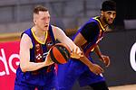 Liga ACB-ENDESA 2020/2021. Game: 26.<br /> FC Barcelona vs Casademont Zaragoza: 107-88.<br /> Rolands Smits & Brandon Davies.