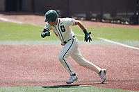 Jack Dragum (6) of the Charlotte 49ers takes off for second base during the game against the Old Dominion Monarchs at Hayes Stadium on April 25, 2021 in Charlotte, North Carolina. (Brian Westerholt/Four Seam Images)