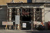Palazzo del Governo..Transenne e puntellamenti sono ancora visibili in tutta la città , a tre anni dal terremoto. .Crush barrier and shoring are still visible throughout the city, after three years from Earthquake.