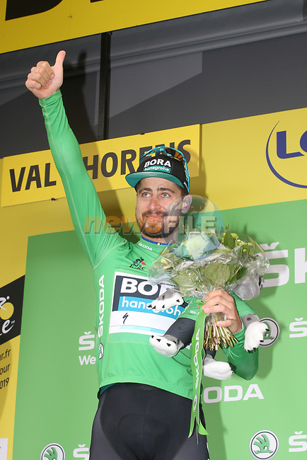 Peter Sagan (SVK) Bora-Hansgrohe secure in the points Green Jersey at the end of  Stage 20 of the 2019 Tour de France running 59.5km from Albertville to Val Thorens, France. 27th July 2019.<br /> Picture: Colin Flockton | Cyclefile<br /> All photos usage must carry mandatory copyright credit (© Cyclefile | Colin Flockton)