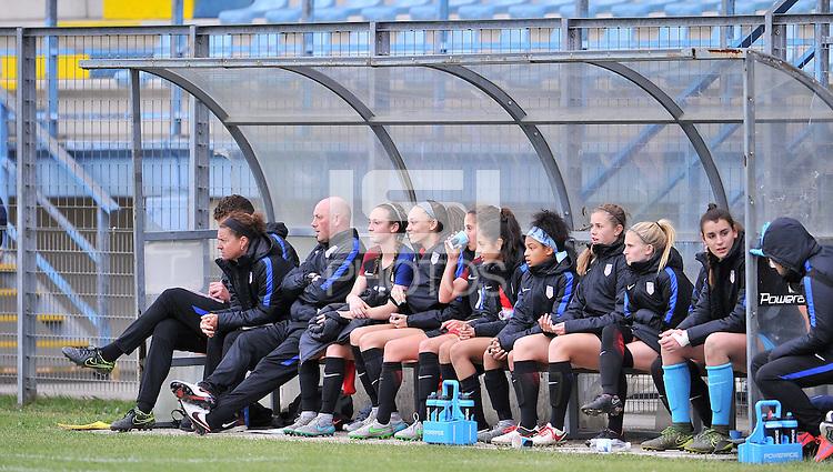 Monfalcone, Italy, April 26, 2016.<br /> USA's bench during USA v Iran football match at Gradisca Tournament of Nations (women's tournament). Monfalcone's stadium.<br /> © ph Simone Ferraro / Isiphotos