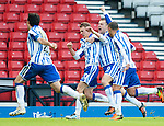 GLASGOW, SCOTLAND - JANUARY 28:  Dean Shiels celebrates putting Kilmarnock through to the final with his goal during the Scottish Communities Cup Semi Final match between Ayr United and Kilmarnock at Hampden Park on January 28, 2012 in Glasgow, United Kingdom. (Photo by Rob Casey/Getty Images).