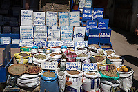 Essaouira, Morocco.  Shop Display for a Vendor of Spices and Traditional Herbal Medicines.