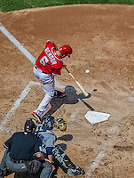 26 April 2014: Washington Nationals infielder Anthony Rendon at bat against the San Diego Padres at Nationals Park in Washington, DC. The Nationals shut out the Padres 4-0 to take the third game of their 4-game series. Mandatory Credit: Ed Wolfstein Photo *** RAW (NEF) Image File Available ***