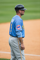 Myrtle Beach Pelicans manager Mark Johnson (8) coaches third base during the Carolina League game against the Winston-Salem Dash at BB&T Ballpark on May 10, 2015 in Winston-Salem, North Carolina.  The Pelicans defeated the Dash 4-3.  (Brian Westerholt/Four Seam Images)